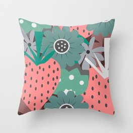 Pink strawberries and sweet flowers Throw Pillow