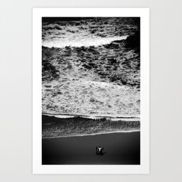 Dad and son pre surf Art Print