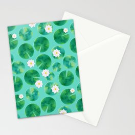 Lily Pads & White Water Lily Flowers Stationery Cards