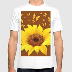 COFFEE BROWN YELLOW SUNFLOWER & BUTTERFLIES White MEDIUM Mens Fitted Tee