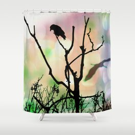 The Lonely Crow At Sunset Shower Curtain