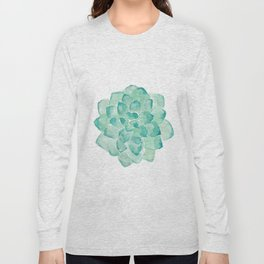 Watercolor Succulent print in seafoam green Long Sleeve T-shirt