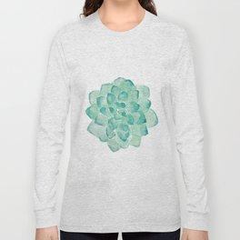 Watercolor Succulent print in seafoam green Long Sleeve T-shirt