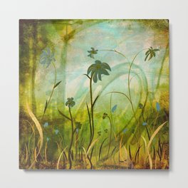 Blue night garden mixed media. Metal Print