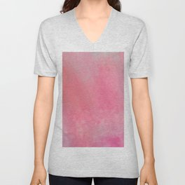 Coral girly pink watercolor clouds brushstrokes Unisex V-Neck