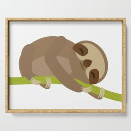funny and cute Three-toed sloth on green branch Serving Tray