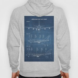 Boeing 747-SP and 747-100 Blueprint in High Resolution (light blue) Hoody