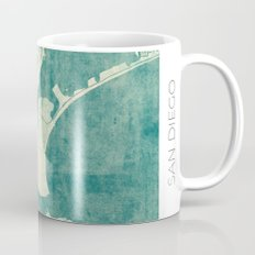 San Diego Map Blue Vintage Mug