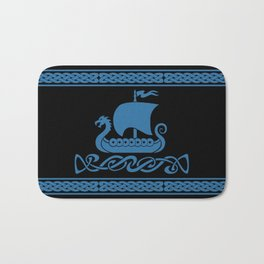 Drgon Boat - Blue Bath Mat