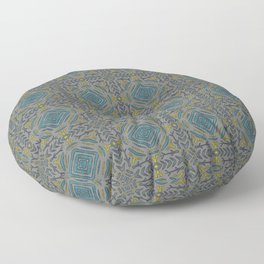 Abstract Pattern 13  - Grey, Blue and gold ornament Floor Pillow