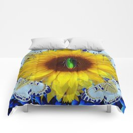 EMERALD GOLD BUG ON SUNFLOWER BUTTERFLY Comforters