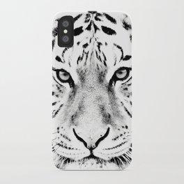 White Tiger Print iPhone Case