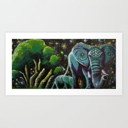 Elephunk, Peanut, and the Cosm Tree Art Print
