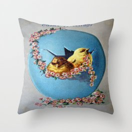 Easter Greetings 1909 Throw Pillow