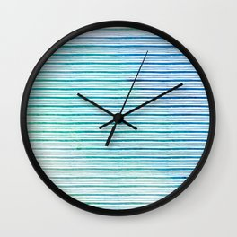 fine aqua handpainted stripes on clear white Wall Clock