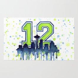 Seattle 12th Man Fan Art Seattle Space Needle Rug
