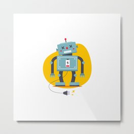 Robot Is Unplugged Need Recharge Electrical Starvation Flat Vector Character Metal Print
