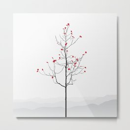 Twig Tree - Crimson Metal Print