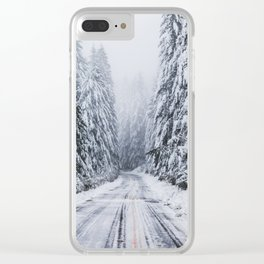 Snowy Oregon Forest Roads Clear iPhone Case