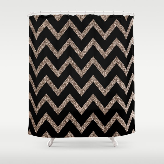 Black and Gold Glitter Chevron Shower Curtain