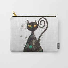 Black cat with orange eyes Carry-All Pouch