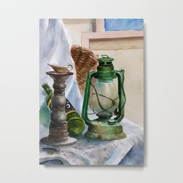 Green oil lamp and bottle Metal Print