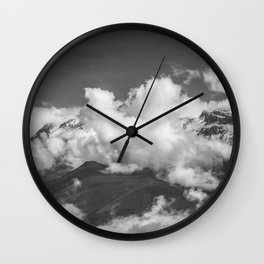 Volcano Chachani in Arequipa Peru Covered by Clouds Wall Clock