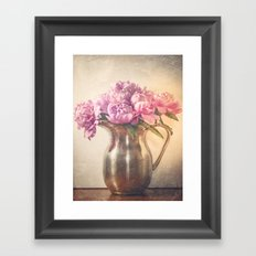 Pitcher of Peonies -- Still Life with Flowers Framed Art Print