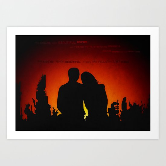 The Skyline was Beautiful on Fire Art Print