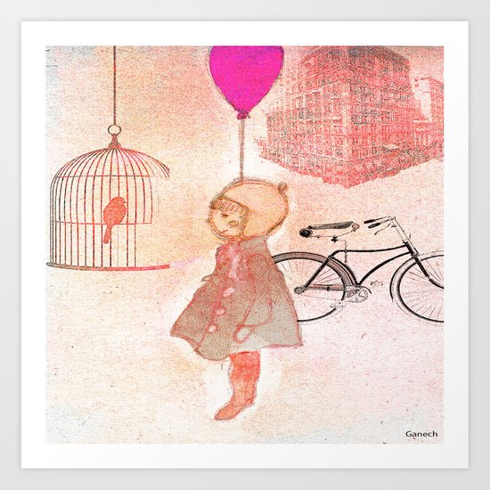 Shelsea  and the birdcage Art Print