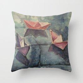 Boats on the wet sett Throw Pillow