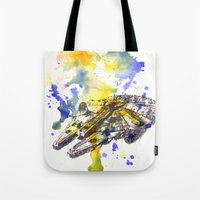 millenium falcon Tote Bags featuring Star Wars Millenium Falcon  by idillard