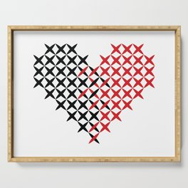 Black and red heart Serving Tray