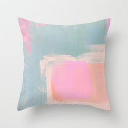 Bubblegum & Sage: abstract pink and green Throw Pillow