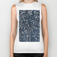 metallic Biker Tanks featuring Metallic Floral by Yaz Raja Designs