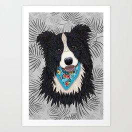 Happy Border Collie Boy Art Print