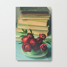 Books and Flowers Metal Print