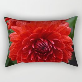 Fresh Rain Drops - Red Dahlia Rectangular Pillow