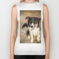 border collie Biker Tanks featuring Border Collie by Paw Prints By Jamie