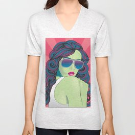 Pop Art Portrait Series 1: v.5 Unisex V-Neck