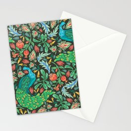 Asian-Inspired Floral Pattern With Majestic Peacocks Stationery Cards