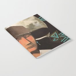 Portrait of A Southwestern Traveler with The Moon & Geometric Shapes In The Background Notebook