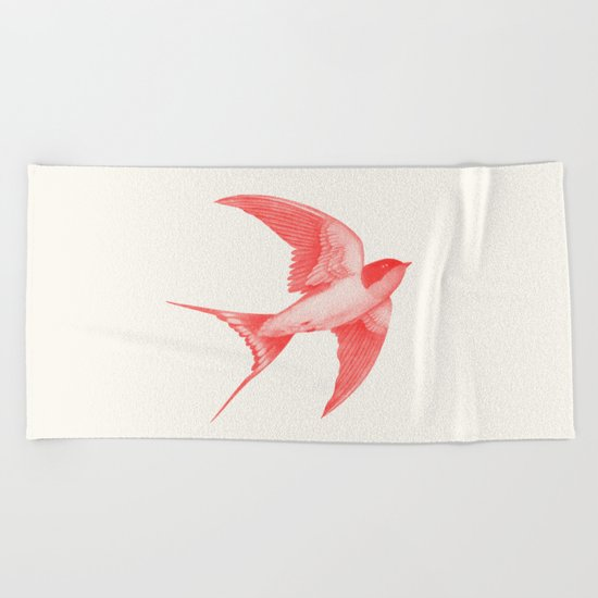 Barn Swallow (red) Beach Towel