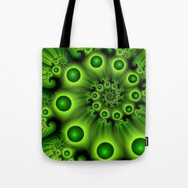Green Fractal, Modern Spiral With Depth Tote Bag