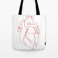 anatomical heart Tote Bags featuring Anatomical heart by Laurel Howells