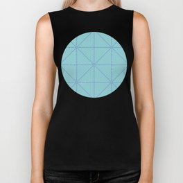 Dotted line grid seamless vector pattern in green and blue Biker Tank