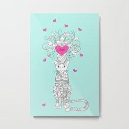 elegance zen cat with hearts Metal Print