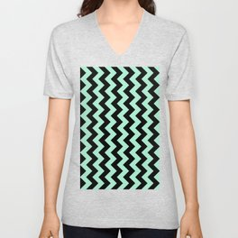 Black and Magic Mint Green Vertical Zigzags Unisex V-Neck