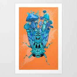 Zammara, Cicada - Mushroom Painting Art Print