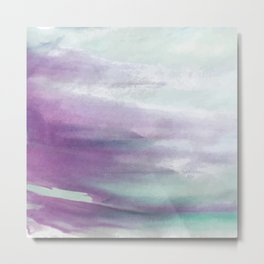 Purple green watercolor swash Metal Print